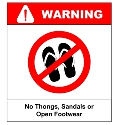 Sign no sandals No slipper red prohibition plane vector image
