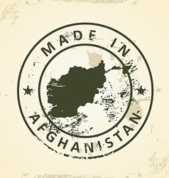 Stamp with map of afghanistan vector