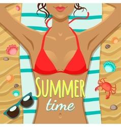 Summer girl on the beach vector