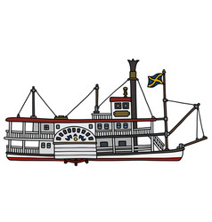 The classic paddle steamer vector