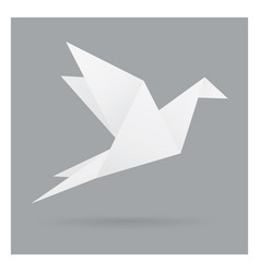 White bird paper craft flying in frame art vector