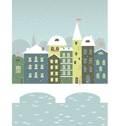 Winter town with a bridge vector