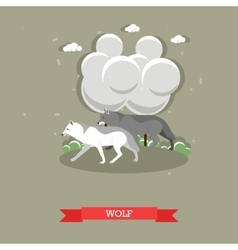 Two wolves walking in a forest - stock vector