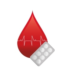 Blood drop cardiogram and medicine tablets icon vector