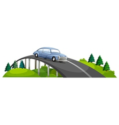 A car passing over the bridge vector