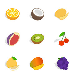 Different fruits berries icons isometric 3d style vector