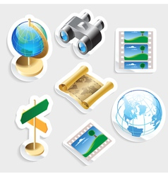 Sticker icon set for travel vector image
