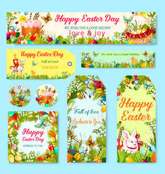 Easter egg and rabbit gift tag with flower decor vector