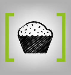Cupcake sign  black scribble icon in vector