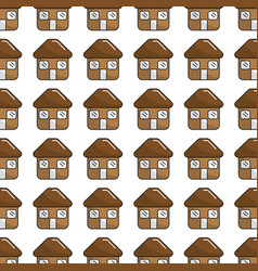 Brown house with roof door and windows background vector