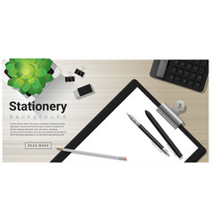 stationery background with office equipment vector image