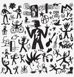 rock music doodles vector image