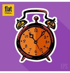 Sketch style hand drawn alarm clock flat icon vector image