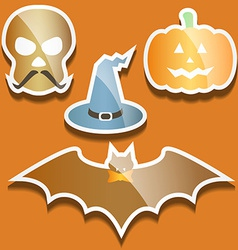 Flat scull pumpkin hat and bat vector