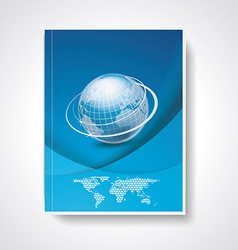 Magazine or brochure cover with world map and vector image
