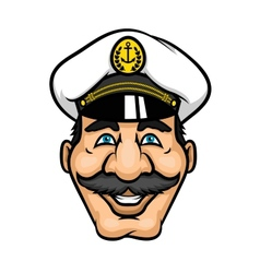 Cheerful moustached captain character in cap vector