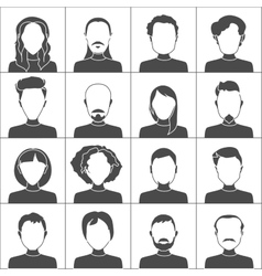 People icons set of stylish people icons in black vector