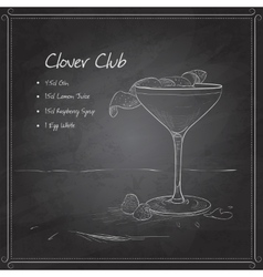Coctail clover club on black board vector