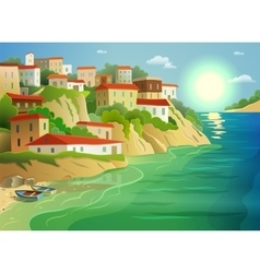 Coastal sea village living colorful poster vector
