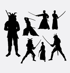 Samurai male japanese warrior silhouettes vector