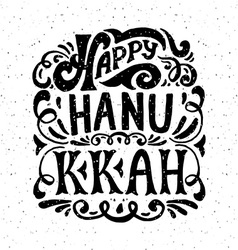 Happy hanukkah logotype badge and icon typography vector