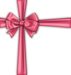 Pink realistic satin ribbon and bow isolated vector