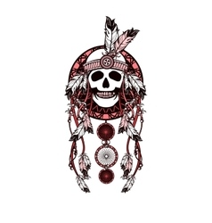 Dreamcatcher and skull vector