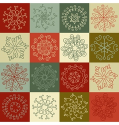 Set of hand-drawn snowflakes for design greeting vector