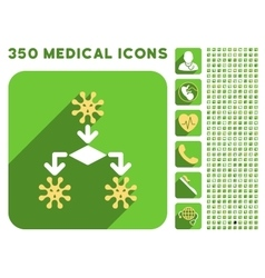 Virus reproduction icon and medical longshadow vector