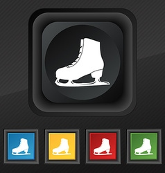 Ice skate icon symbol set of five colorful stylish vector