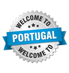 Portugal 3d silver badge with blue ribbon vector