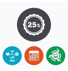 25 percent discount sign icon sale symbol vector