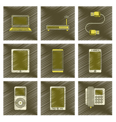 Assembly flat shading style icon wi fi modem vector