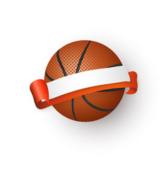 basketball ball and blank empty ribbon for text vector image