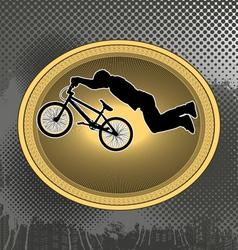 bmx biker in vintage frame vector image vector image