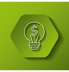 Bulb with money sign icon vector