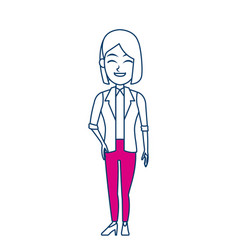 cartoon woman standing business employee character vector image