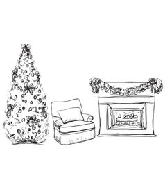 Christmas fireplace hand drawn vector image