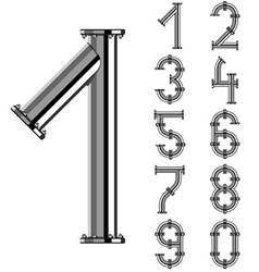 Chrome pipe alphabet numbers vector
