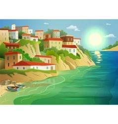 Coastal sea village living colorful poster vector