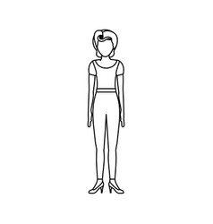 Contour body faceless woman with t-shirt and pants vector