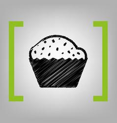Cupcake sign black scribble icon in vector