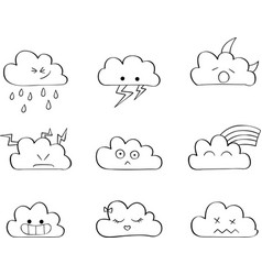 cute clouds outline kawaii vector image vector image
