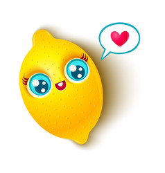 cute lemon and heart vector image