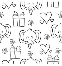 Doodle of elephant circus hand draw vector