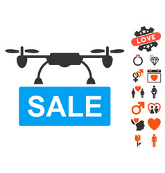 Drone sale icon with lovely bonus vector