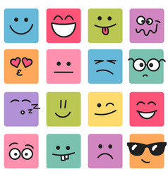 Emotional square colorful faces vector