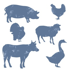 Farm animals silhouettes vector