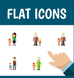 flat icon relatives set of grandpa grandchild vector image vector image