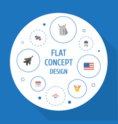 Flat icons identity holiday aircraft and other vector